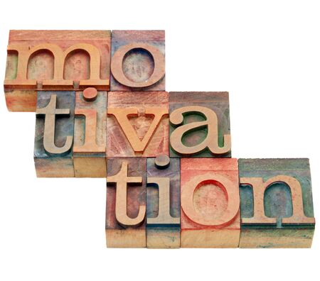 letterpress words: motivation word - isolated abstract in vintage wood letterpress printing blocks Stock Photo