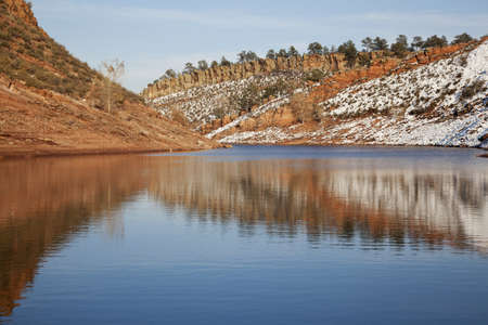 horsetooth reservoir: Horsetooth Reservoir near Fort Collins, Colorado in late fall or winter scenery