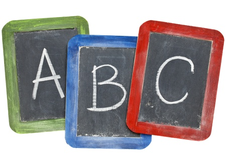 first letters of alphabet (A, B, C) in white chalk handwriting on three small slate blackboards photo