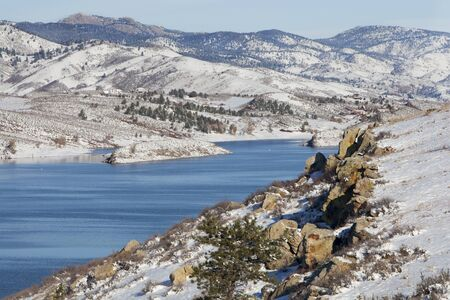 horsetooth reservoir: Horsetooth REservoir in Fort Collins, Colorado with a view of Lory State Park and Greyrock - winter scenery with fresh snow