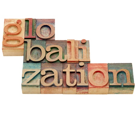 printing block: globalization - isolated word in vintage wood letterpress printing blocks