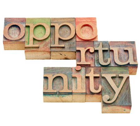 happening: opportunity - isolated word in vintage wood letterpress printing blocks Stock Photo