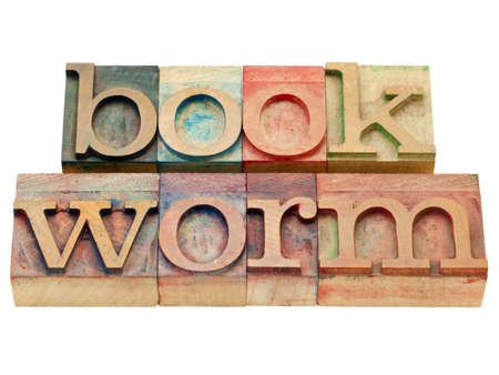 bookworm: bookworm - isolated text in vintage wood letterpress printing blocks Stock Photo