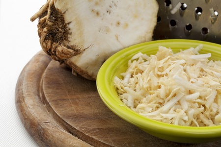 celery root: bowl of celery root grated for a salad