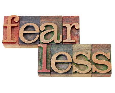 fearless: fearless - isolated word in vintage wood letterpress printing block Stock Photo