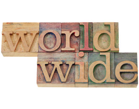 worldwide - isolated word in vintage wood letterpress printing block Фото со стока