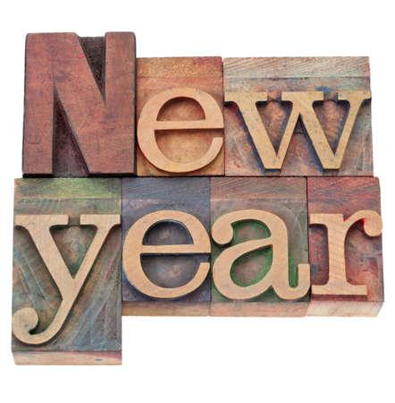 letterpress blocks: New Year  - isolated text in vintage wood letterpress printing blocks