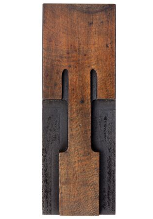 printing block: letter T - isolated antique wood letterpress prinitng block