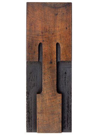 printing block block: letter T - isolated antique wood letterpress prinitng block