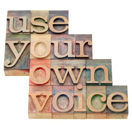 use your own voice advice - isolated text in vintage wood letterpress printing blocks Reklamní fotografie