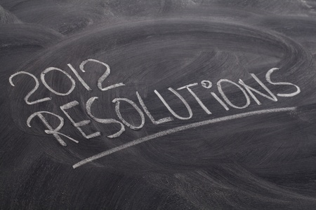 2012 resolutions - white chalk handwriting on blackboard photo