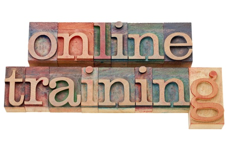 online: online training - isolated text in vintage wood letterpress printing blocks