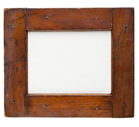 old rough wooden frame with blank artist canvas isolated on white Stock Photo - 11577572