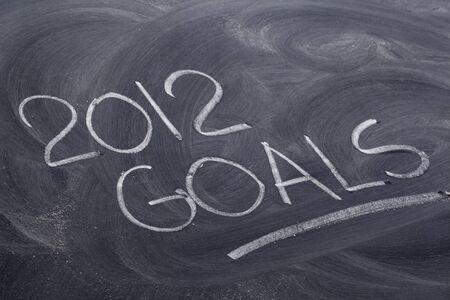 2012 目標 - 白いチョーク黒板消しパターンと手書き