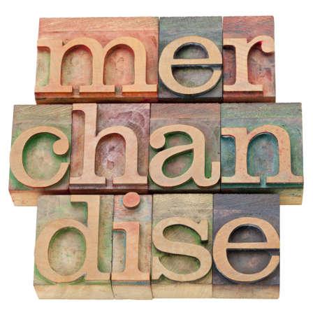 merchandise: merchandise - isolated text in vintage wood letterpress printing blocks