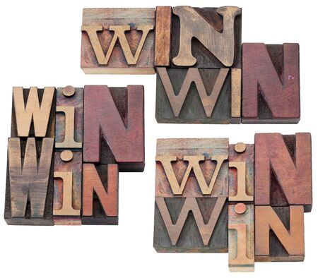 win-win strategy, negotiation or conflict resolution concept - isolated text  in vintage wood letterpress type blocks, stained by color ink, 3 layouts photo