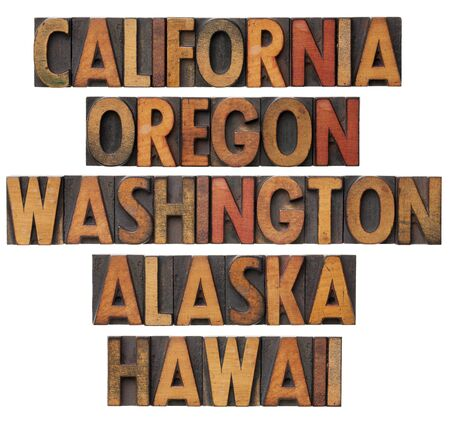 patina: California , Oregon, Washington, Alaska and Hawaii - USA Pacific states - collage of isolated words in vintage wood letterpress printing blocks with color ink patina