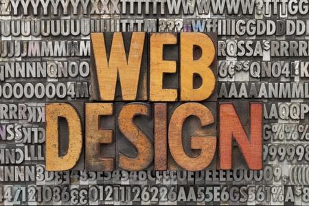 web design - text in vintage wood letterpress printing blocks against grunge metal typeset Stock Photo - 11577606