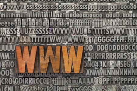 letterpress words: www acronym - internet concept  - text in vintage wood letterpress printing blocks against grunge metal typeset