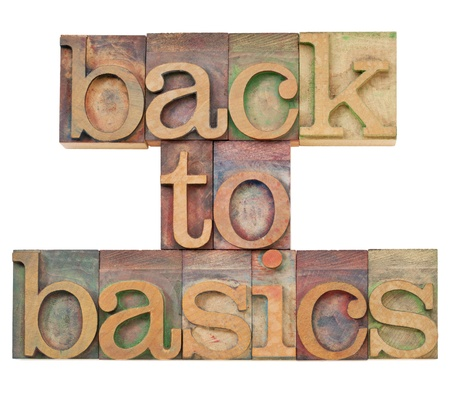 back to basics - fundamental principles concept -isolated text in vintage wood letterpress printing blocks stained by color inks Stock Photo - 11788220