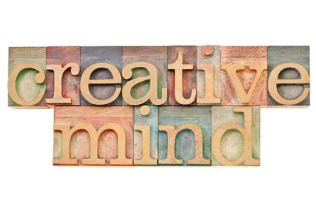 creative mind - isolated text in vintage wood letterpress printing blocks stained by color inks Stock Photo - 11788237