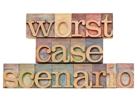 worst case scenario - risk analysis concept - - isolated text in vintage wood letterpress printing blocks stained by color inks