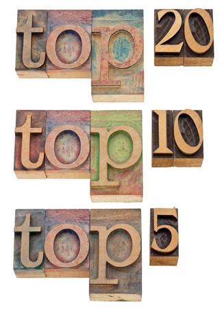 popularity: top 20, top 10, top 5 - popularity concept - isolated text in vintage wood letterpress printing blocks