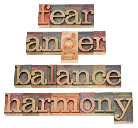 fear, anger, balance, harmony - progression of feelings or state of mind - a collage of isolated words in vintage wood letterpress type, stained by color inks