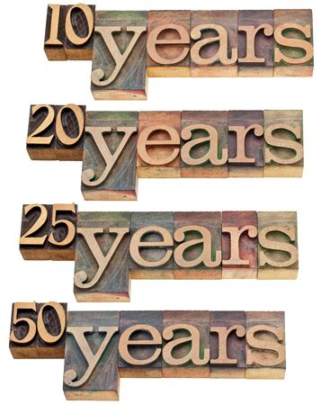 anniversary concept - 10, 20 ,25, 50 years - isolated text in vintage wood letterpress printing blocks stained by color inks Stock Photo - 11788238