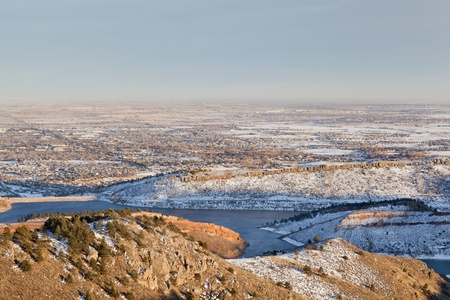 horsetooth rock: Colorado Front Range, Fort Collins  and plains in winter scenery as seen from Horsetooth Mountain Park