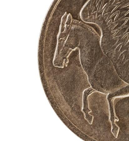 Pegaso, el caballo alado de la mitología griega, un detalle (2 veces su tamaño natural) de diez dracmas vieja moneda circular (1973) Foto de archivo - 11788248