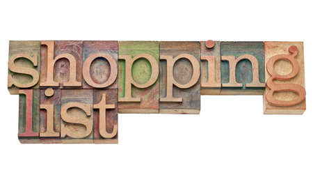 shopping list - isolated text in vintage wood letterpress printing blocks, stained by color inks Stock Photo - 11788242