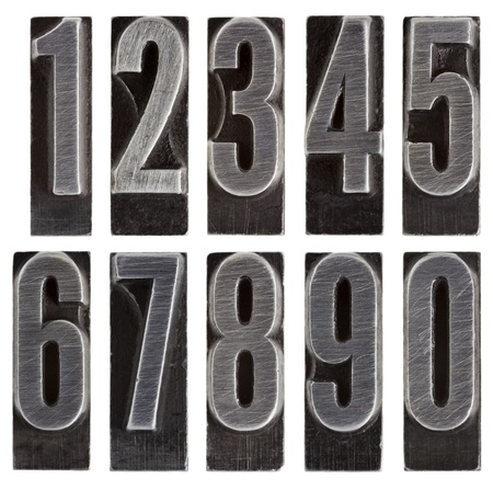 a full set of ten arabic numerals 0 to 9 in old grunge metal letterpress printing blocks isolated on white Stock Photo - 11788253