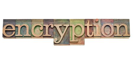 encryption - computer network security concept - isolated text in vintage wood letterpress printing blocks, stained by color inks Stock Photo - 11881300