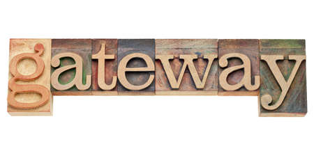 gateway - computer network concept - isolated text in vintage wood letterpress printing blocks, stained by color inks Stock Photo - 11881301