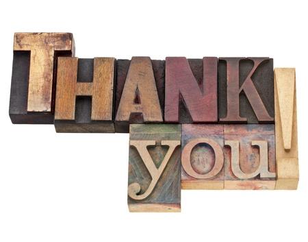 dank u: dank je uitroepteken - geïsoleerde tekst in vintage houten boekdruk blokken, gekleurd met kleuren inkt Stockfoto
