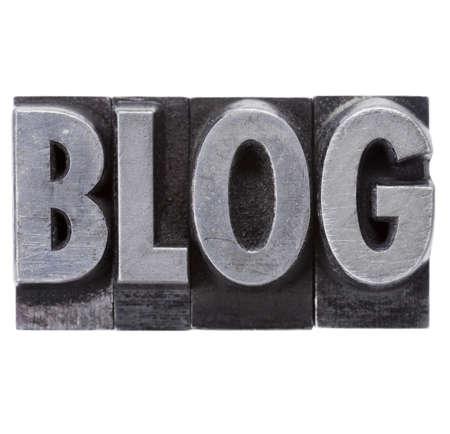 blog - isolated word in grunge vintage metal letterpress printing blocks Stock Photo - 11881314