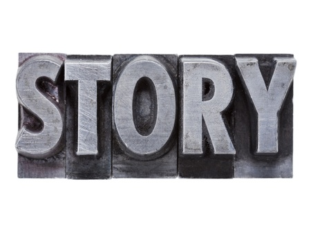 narration: story  - isolated word in grunge vintage metal letterpress printing blocks Stock Photo