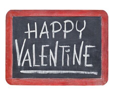 Happy Valentine - white chalk handwriting on a small slate retro blackboard Stock Photo - 11961337