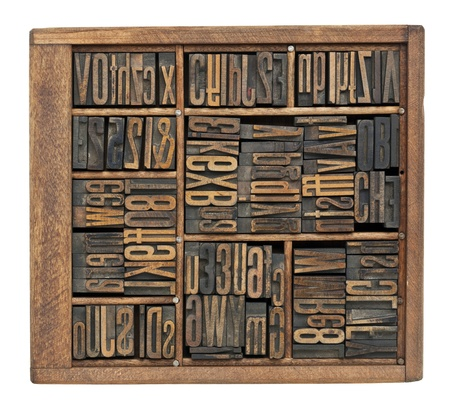 vintage wood letterpress printing blocks abstract with variety of  letters, numbers, ligature (condensed gothic font) in old box Stock Photo - 11961336
