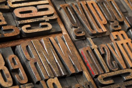 antique wood letterpress printing blocks  (condensed gothic font) in old box typesetter box, abstract with selective focus Stock Photo - 11961341