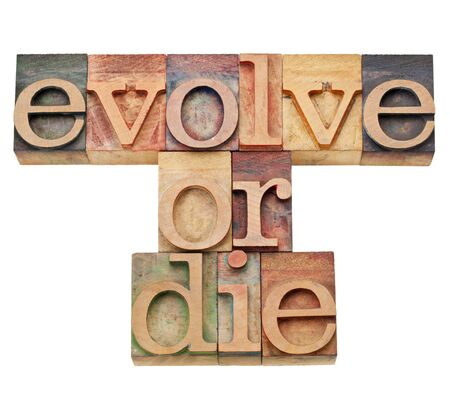 evolve or die -  evolution or adaptation concept -  isolated text in vintage wood letterpress type, stained by color inks Stock Photo - 11980196