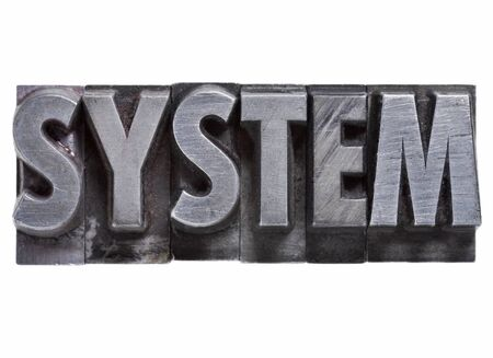 system - isolated word in vintage grunge metal letterpress type Stock Photo - 12011172