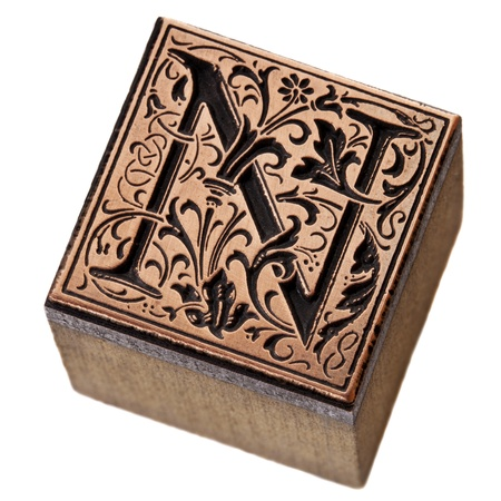 ornamental initial letter N - copper and wood vintage letterpress printing block photo