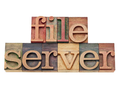 file server - computer network concept - isolated text in vintage wood letterpress printing blocks Stock Photo - 12029830