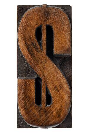 dollar sign - antique wood letterpress type block,  isolated on white Stock Photo - 12029829