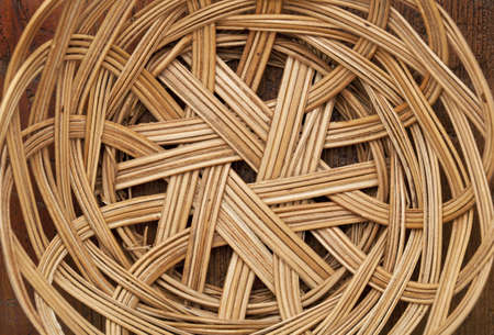 empty wicker basket abstract with circular pattern, focus on a bottom Stock Photo - 12114956