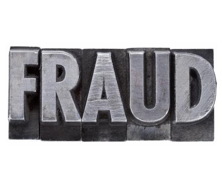 word: fraud - isolated word in vintage grunge metal letterpress type