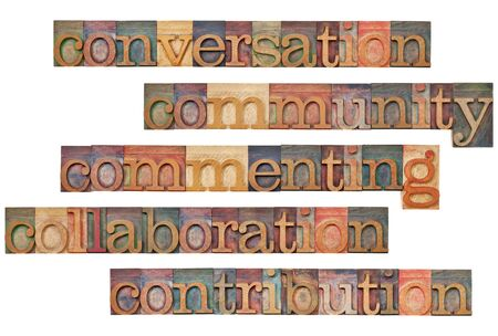 printing block block: conversation, community, commenting, collaboration, contribution - social media 5C concept - a collage of isolated words in vintage wood letterpress printing blocks