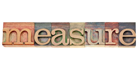 measure - isolated word in vintage wood letterpress printing blocks stained by colorful inks Stock Photo - 12114957
